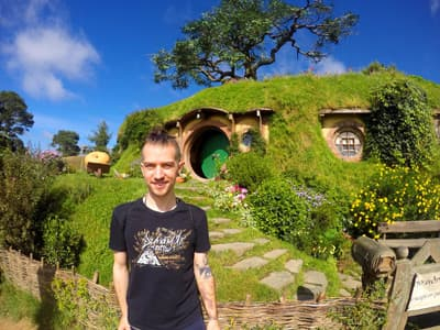 Stipendiat Robin Horst in Hobbiton.