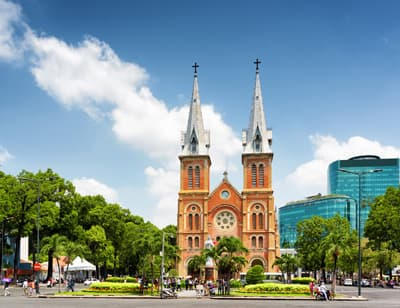 Notre Dame Kathedrale in Ho-Chi-Minh Stadt